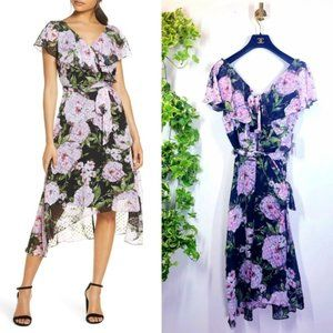 NWT Julia Jordan Floral Chiffon Hi Lo Dress 8 M